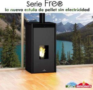 BRONPI Estufa DE Pellet SIN Electricidad Modelo Free 6 KW